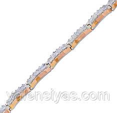 Серебряный браслет женский с золотыми пластинами арт. 30037