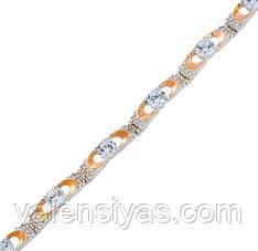 Серебряный браслет женский с золотыми пластинами арт. 30048
