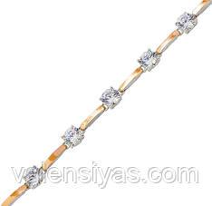 Серебряный браслет женский с золотыми пластинами арт. 30074