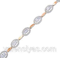 Серебряный браслет женский с золотыми пластинами арт. 30055