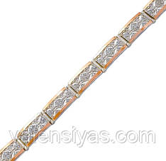 Серебряный браслет женский с золотыми пластинами арт. 30057