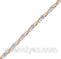 Серебряный браслет женский с золотыми пластинами арт. 30060