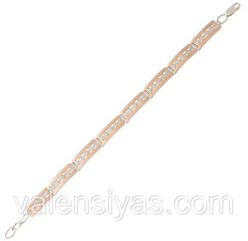 Серебряный браслет женский с золотыми пластинами арт. 30077, фото 2