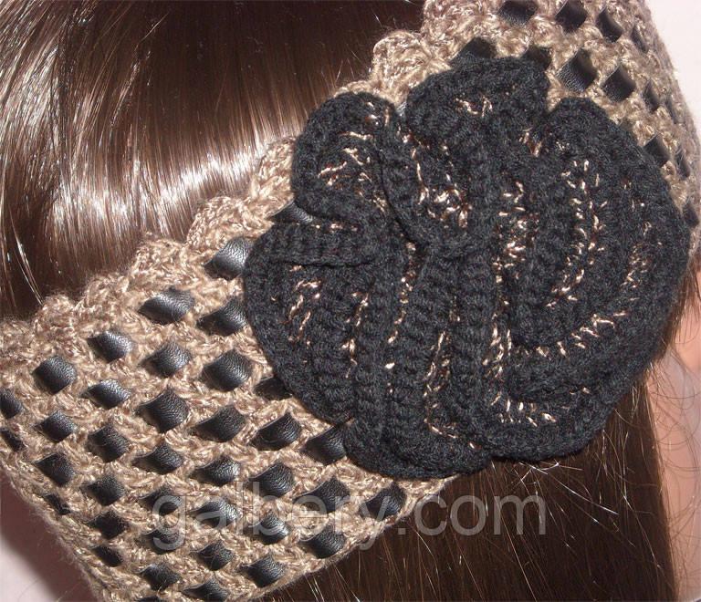 Вязаная повязка на голову бронзового цвета c элементами кожи