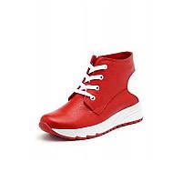 Женские красные демисезонные ботинки из натуральной кожи с шнуровкой и молнией на плоской подошве