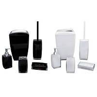 Набор акриловых аксессуаров для ванной (Черный, белый) Kamille 8009