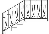 Перила лестничные из метала с элементами ковки | Поручни из металлические для установки на лестницу