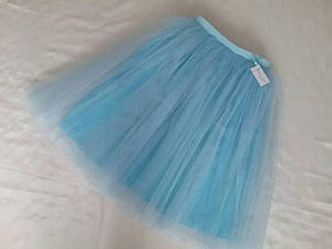 Женская юбка многослойная из фатина с подкладом голубая. Мама+дочка.Пошив в любом цвете и размере