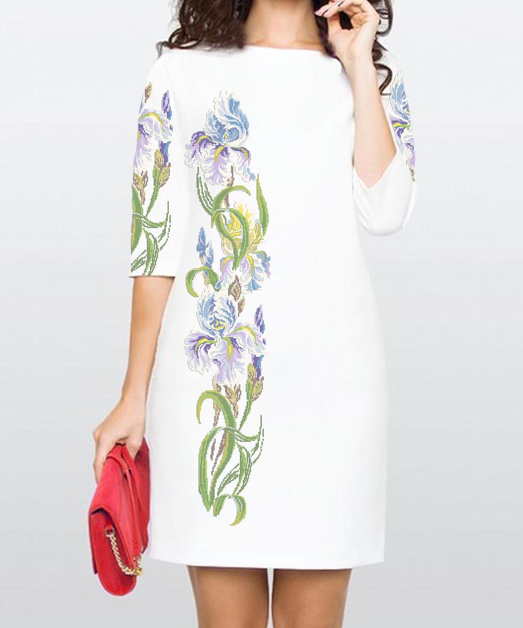 Заготовка жіночого плаття чи сукні для вишивки та вишивання бісером Бисерок  «Іриси»