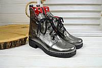 Женские ботинки кожаные серебро, фото 1