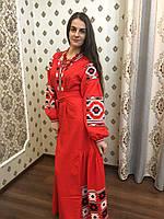 """Вишита сукня """"Ромбик"""" тканина червоний льон"""