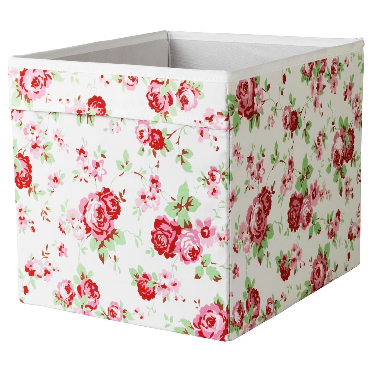 """ИКЕА """"ДРЁНА"""" Коробка, белый в цветы"""