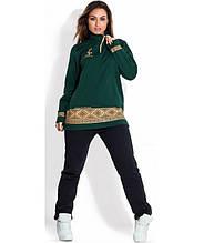 Зеленый спортивный костюм зима размеры от XL 2124