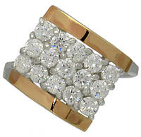 """Женское серебряное кольцо с золотыми пластинами """"Звездное мерцание"""""""