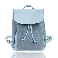 Рюкзак кожаный голубой меховый М, фото 1