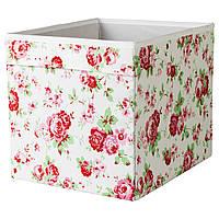 ДРЁНА Коробка, белый в цветы