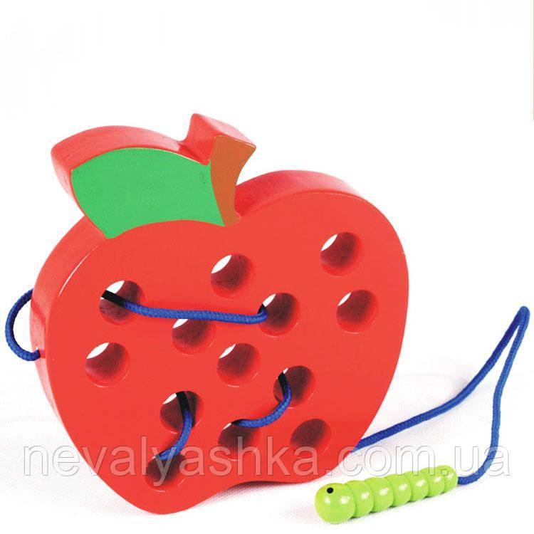 Деревянная игрушка Шнуровка Яблочко Дерев'яна Шнурівка яблоко, MD 1160, 008603