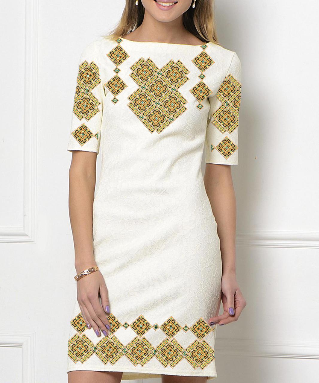 Заготовка жіночого плаття чи сукні для вишивки та вишивання бісером Бисерок  «Орнамент 60» (П-60 )