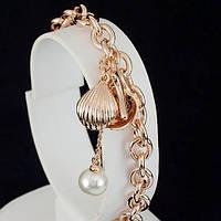 Великолепный браслет с жемчужинкой, покрытый золотом 0699