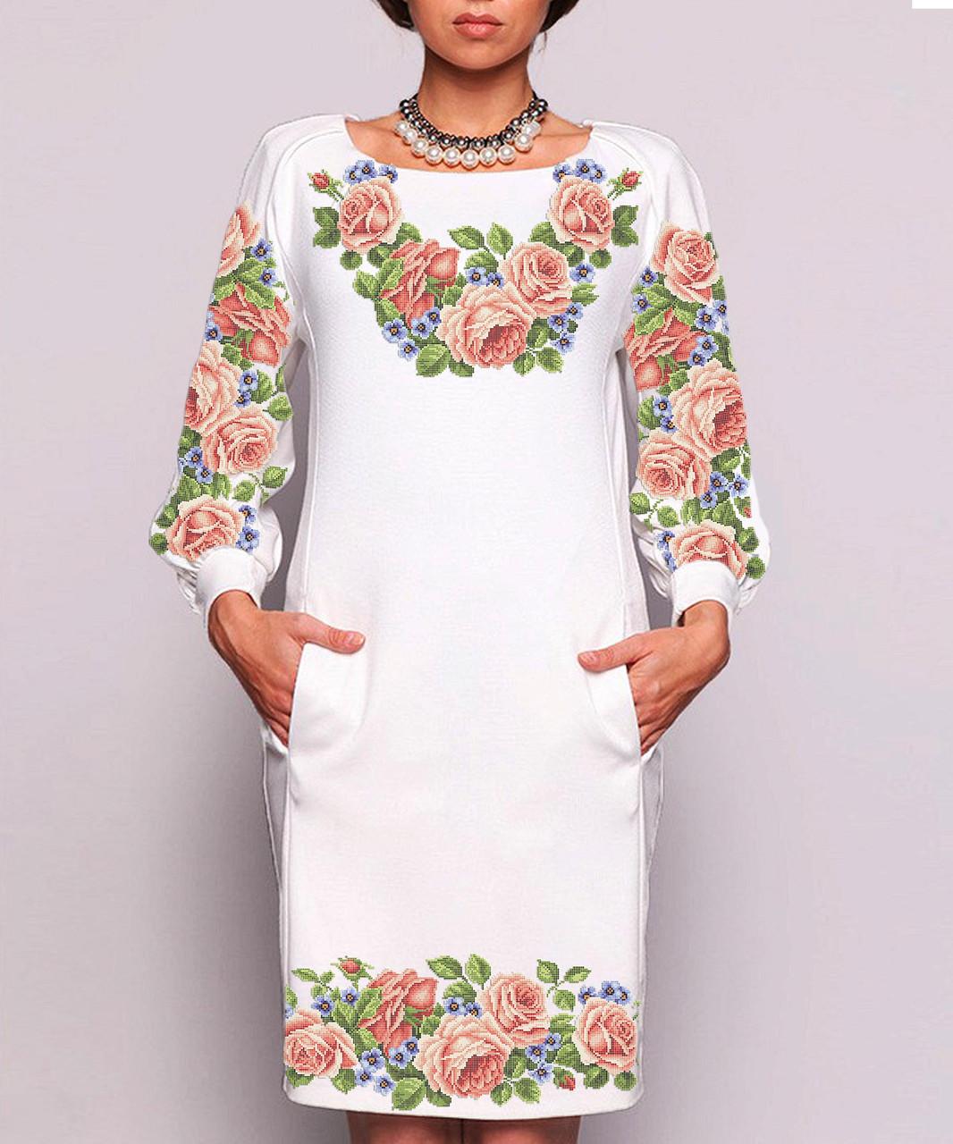 Заготовка жіночого плаття чи сукні для вишивки та вишивання бісером Бисерок  «Квітковий розмай» (П-47 ГБ) Габардин