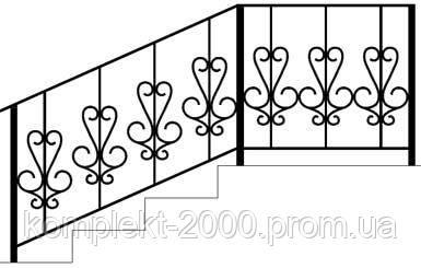 Перила для наружных лестниц с кованными элементами