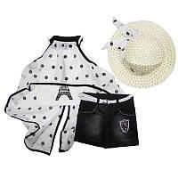 Костюм для девочки 104-122 арт.3752 майка+шорты+накидка+ шляпка