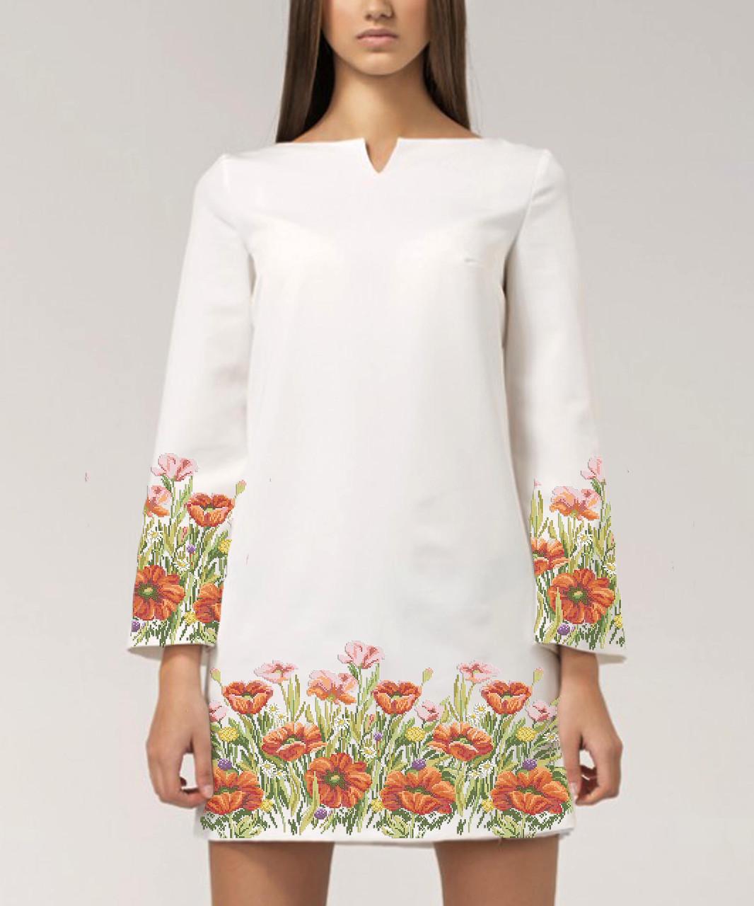 Заготовка жіночого плаття чи сукні для вишивки та вишивання бісером Бисерок  «Поле маків» ( 03df2755ac3ad