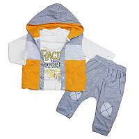 Костюм для мальчика 68-86  кофта+штаны+утепл.жилет , арт.12222