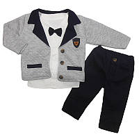 Костюм для мальчика 74-86 рубашка+кофта,штаны ,арт.9085