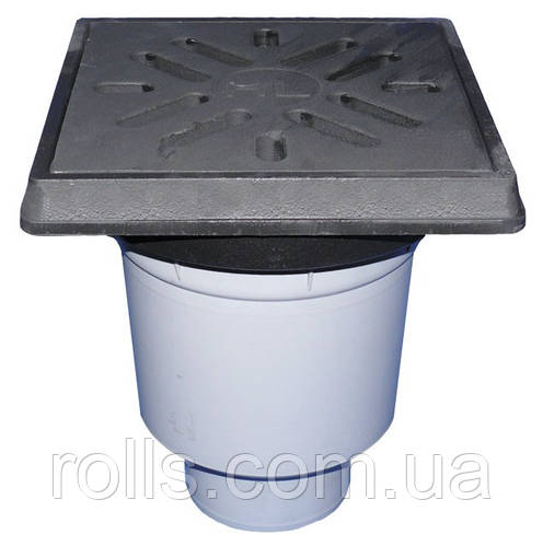 HL606.1W/5  Дворовый трап серии Perfekt DN160 вертикальный 260х260мм/226х226мм чугун с водяным затвором.