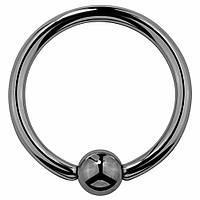 Серьга-кольцо для пирсинга черная, фото 1