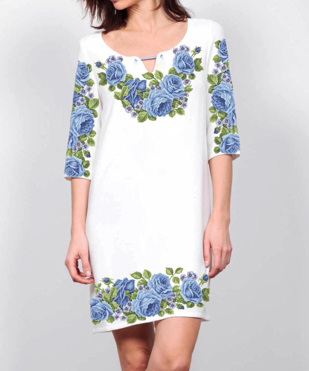 Заготовка жіночого плаття чи сукні для вишивки та вишивання бісером Бисерок  «Голубий квітковий розмай» (П-47-Г ГБ) Габардин