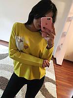 Женская кофточка с карманом из стразов и сердечками, фото 1