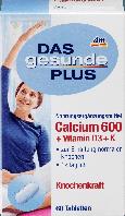 Биологически активная добавка Das Gesunde Plus Calcium 600 + Vitamin D3 + Vitamin K, 60 шт.