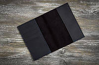 """Чёрная кожаная обложка-тревел """"Graphite 2"""""""
