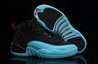 Мужские баскетбольные кроссовки Nike Air Jordan 12 Melo Retro Black/Gamma Blue (реплика), фото 1