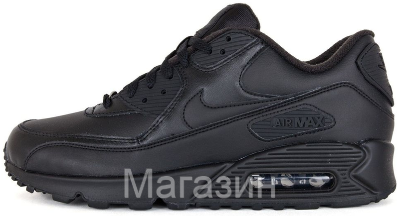 1dc5253a Женские кроссовки Nike Air Max 90 Leather Black (Найк Аир Макс 90) в стиле