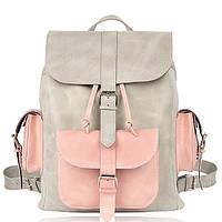 Рюкзак кожаный серо розовый L, фото 1