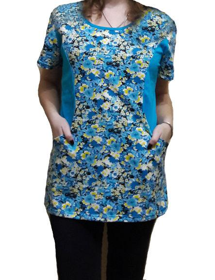 Велика туніка домашня жіночий з кишенями бавовняна трикотажний одяг для дому