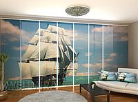 """Панельная фото штора """"Красивая Шхуна"""" 480 х 240 см"""