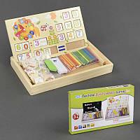 """Деревянная игрушка С 23085, """"Считалочка"""", двухсторонняя доска, часы, палочки, цифры, в коробке"""