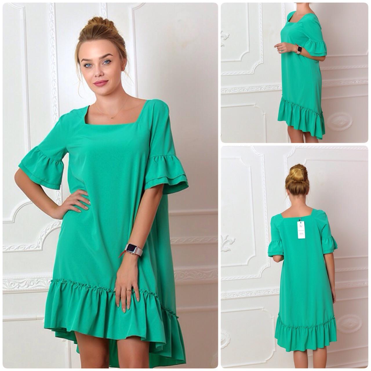 Платье, модель 789, зеленая бирюза (изумрудное)