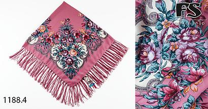 Розовый павлопосадский шерстяной платок Василиса, фото 2