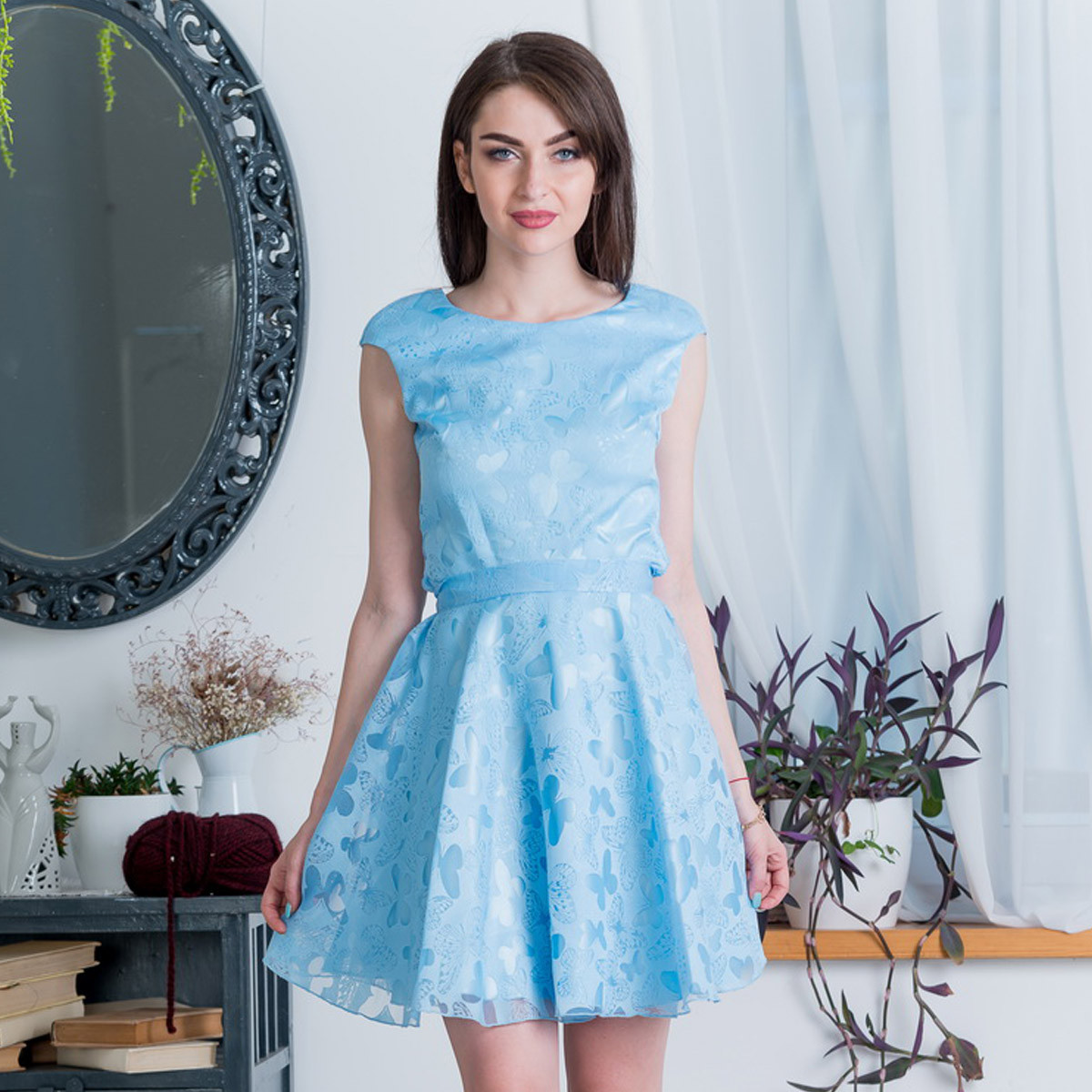 """Голубое короткое платье на праздник, вечернее """"Грейс"""""""
