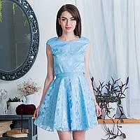 """Голубое короткое платье на праздник, вечернее """"Грейс"""", фото 1"""