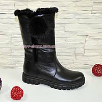 Полусапоги черные кожаные для девочек подростковые на утолщённой подошве. 32 размер