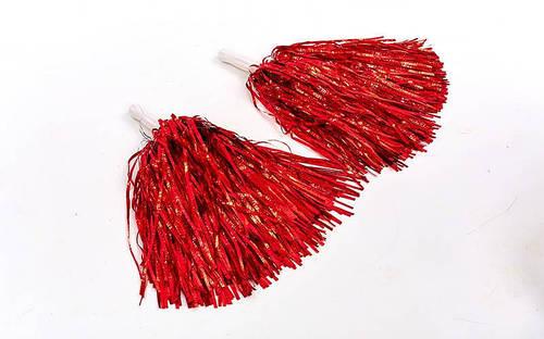 Помпоны-махалки красные для танцев,утреников,черлидинга