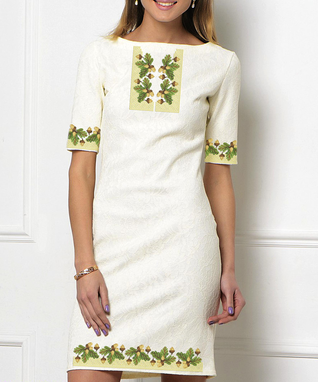 Заготовка жіночого плаття чи сукні для вишивки та вишивання бісером Бисерок   «Дубок версаче» (П-520 )