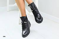 Женские кожаные ботинки, черные, на шнурках