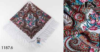 Белый павлопосадский шерстяной платок Елизавета, фото 3